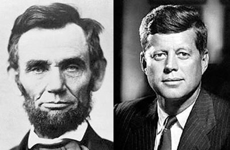 Presidents John F Kennedy and Abraham Lincoln