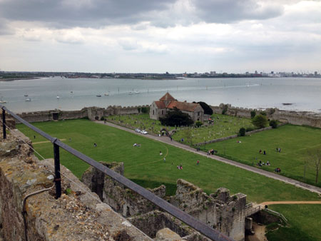 A view from the top of the keep across Portsmouth Harbour